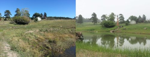 These before and after shots show what an amazing difference between an unsightly bog and a healthy, vibrant, recirculating waterfall / lake can do for the value and aesthetics of a property.